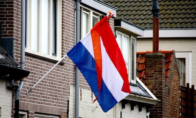флаг Нидерландов с оранжевым вымпелом