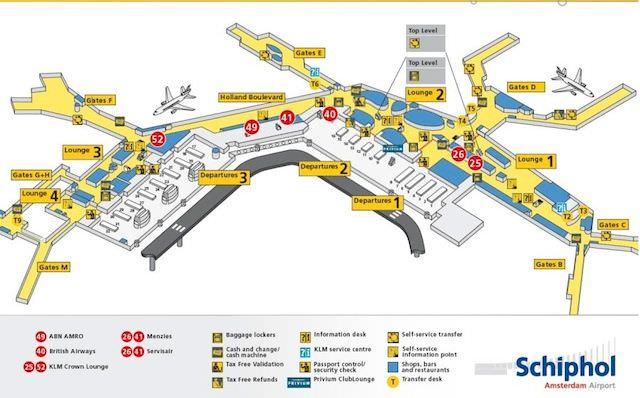 Схема аэропорта Амстердама Схипхол, фотография с сайта www.thelatinworld.nl